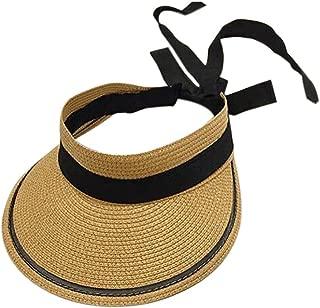 Straw Hat Beach Hat Round Cap Summer Shade Sunscreen Empty Top Basin Cap Women,A