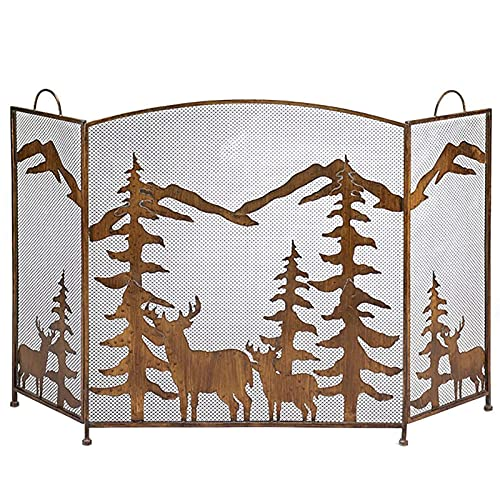 3 Panel Rustic Forest Fireplace Screen with Handle, Outdoor Metal Decorative Mesh Fire Screen Spark Gate Fence for Baby Child Pet Protection, 81cm Tall Baby Safe Protect