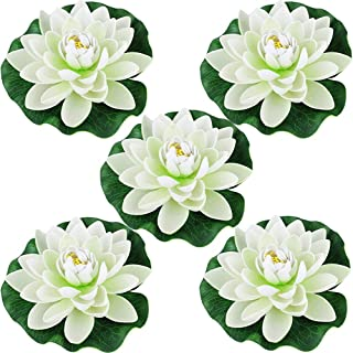 Just Artifacts 5pc Foam Lotus Floating Water Flower Candle-Free (Color: White)