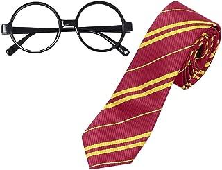 CODIRATO Harry Potter Brille Harry Potter Tie Krawatte, Harry Potter Kostüm Zubehör für Junge und Mädchen am Halloween, Party