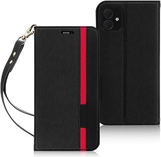 iPhone 11 ケース 6.1インチ 対応 FYY スマホケース iPhone 11 カバー 手帳型 Qi ワイヤレス充電対応 カード収納 スタンド機能 ストラップ付き PUレザー 軽量 薄型 耐衝撃 [2019 iPhone 対応] (ブラック×レッド)