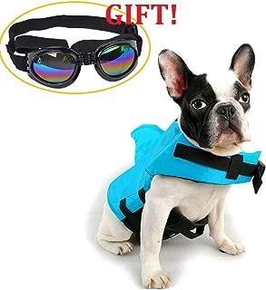 CheeseandU Dog Life Jacket Shark, Pet Swimming Vest Jacket- Adjustable Preserver Coat Jacket with Free Pet UV Goggles Sunglasses Gift for Small Medium Dog Puppy Doggie Surfing Boating