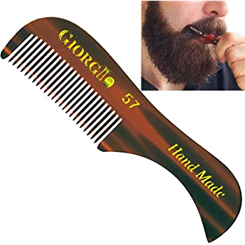 Giorgio G57 2.75 Inch Extra Small Men's Fine Toothed Beard and Mustache Comb for Facial Hair Grooming and Styling. Wallet Pocket Comb Handmade of Quality Durable Cellulose, Saw-Cut and Hand Polished