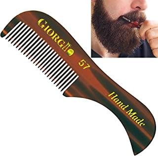 "Giorgio G57 2.75"" X-Small Men's Fine Toothed Beard and Moustache Combs Pocket Size for Facial Hair Grooming. Hand-Made of Quality Cellulose, Saw-Cut & Hand Polished. (1 Pack, Tortoise)"