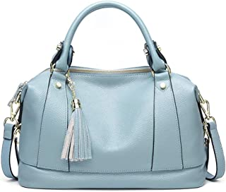 Bags Genuine Leather Women Top Handle Satchel Handbag Tote Shoulder Bag Purse Crossbody Womens Briefcase Shoulder Bag (Color : Light Blue)