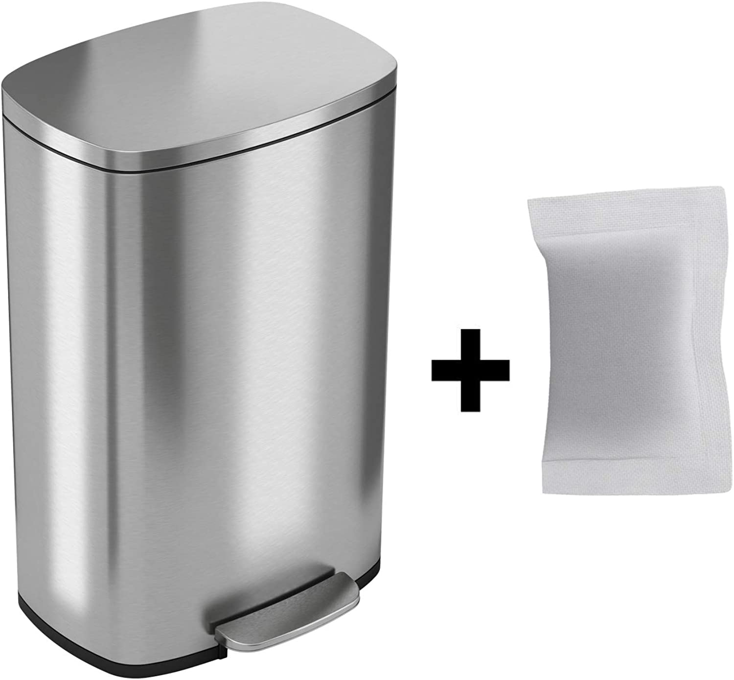 ITouchless SoftStep 13 Gallon Step Trash Can with Odor Filter & Removable Inner Bucket, Stainless Steel, 50 Liter Silver