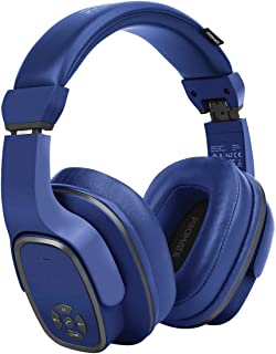 Promate Wireless Headphone with Speaker, 2-in-1 High Definition Bluetooth v5.0 Headphone with Built-in 6W Speaker, Mic, 12H Playtime, MicroSD Card Slot, FM Radio and AUX Port, Corvin Blue