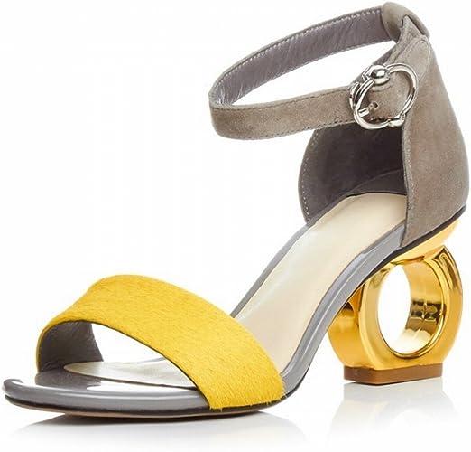 CXY Sandales D'été Femme Forme Sauvage avec Un Mot Chaussures à Talons Hauts Sandales,Une,37