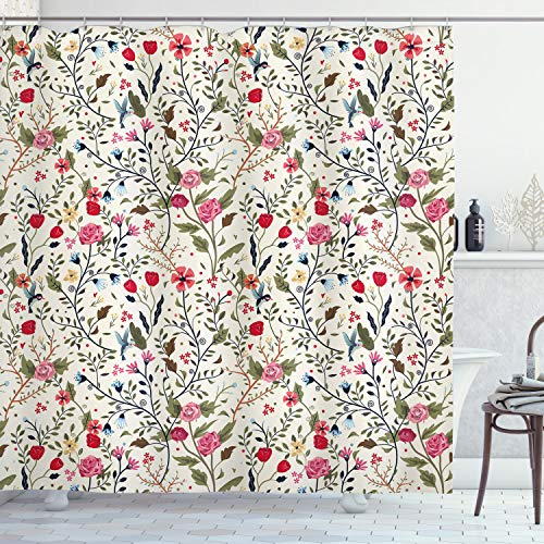 """Ambesonne Floral Shower Curtain, Vibrant Colored Complex Image Birds with Roses Leaves and Polka Dots Nature Scenery, Cloth Fabric Bathroom Decor Set with Hooks, 75"""" Long, Cream Pink"""