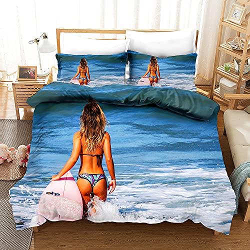Kseyic Juego de ropa de cama de surf para hombres, jóvenes, adolescentes, agua en 3D, estilo deportivo, funda nórdica con cremallera, postura de fitness (k,240 x 220)