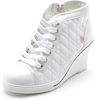 EpicStep Women's High Top Wedges High Heels Lace Up Quilted Casual Fashion Sneakers