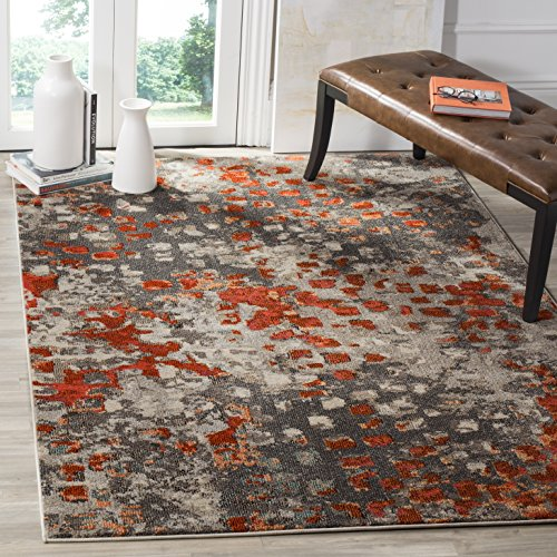 Safavieh Monaco Collection MNC225H Modern Boho Abstract Watercolor Area Rug, 4' x 5' 7', Grey/Orange