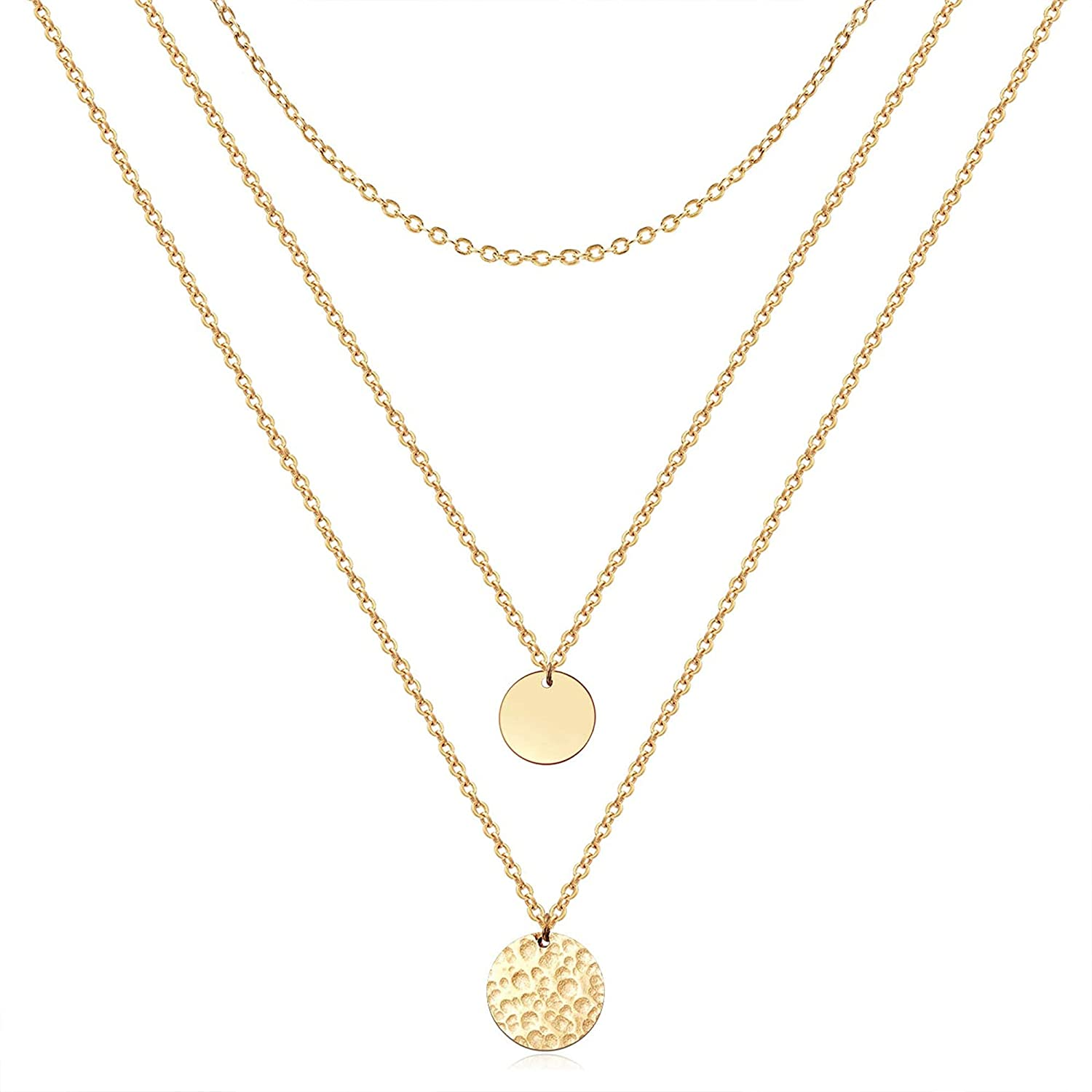Bestelly Dainty Layered Choker Necklace for Women, 14k Gold Plated Y Pendant Paperclip Chain Bar Layering Necklace for Women