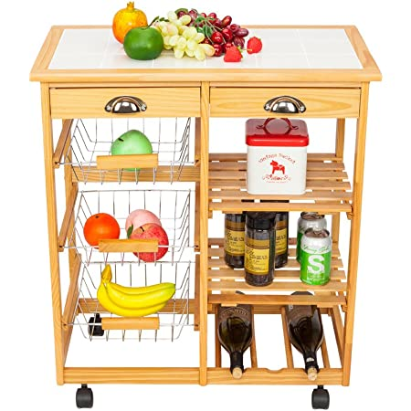 Amazon Com Fch Kitchen Island Cart Table Rolling Trolley Storage With 2 Drawers 1 Wine Racks 3 Baskets 2 Rows Wood Kitchen Islands Carts