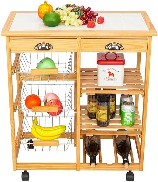 Kepooman Kitchen Dining Cart Portable Folding Rolling Wood Drop Leaf Kitchen Island Storage Trolley Cart Shelves W Drawers Wine Rack Fruit Baskets