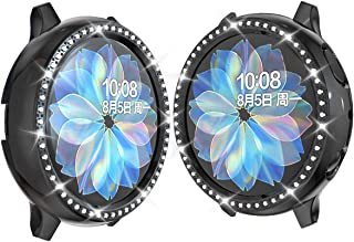 JZK Samsung Galaxy Watch Active 2 44mm PC Diamond Case,Bling Crystal Plated Protective Bumper Shell PC Protective Cover for Samsung Galaxy Watch Active 2 44mm Accessories,Black