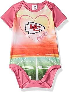 NFL Kansas City Chiefs Baby-Girls Short-Sleeve Bodysuit, Pink, 0-3 Months