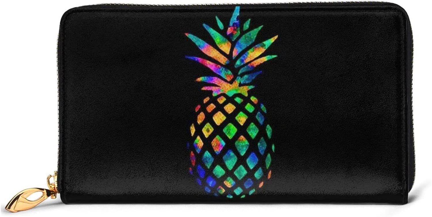 Colorful Pineapple Leather Wallet Women Purse Cl Around Free shipping Long Zip Large-scale sale