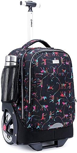 SH-lgx Rouler Sac à Dos Ordinateur portable sacages à roulettes Sac à Dos Trolley Sacs D'école avec 2 Roues pour Garçons Filles Adolescents étudiants Voyage Noir