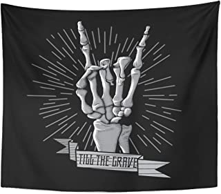 Emvency Tapestry Band Rock Roll Skeleton Hand Music Hard Hipster Symbol Home Decor Wall Hanging for Living Room Bedroom Dorm 50x60 Inches