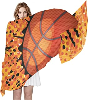 Women Silk Scarf Vintage Sports Basketball Stars Polka Dots Personalized for Women Vacation Winter Decor