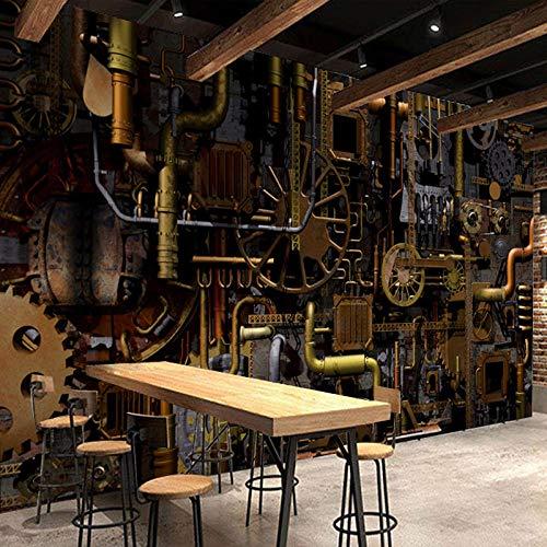 Papel tapiz 3D mural motor motor engranaje mural parrilla café restaurante bar fondo papel tapiz industrial viento maquinaria papel tapiz papel tapiz-350 * 256cm
