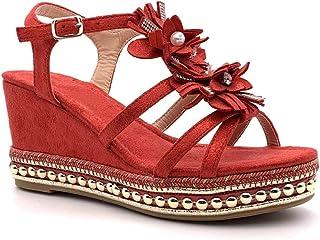 7383d7518f0d2b Angkorly - Chaussure Mode Sandale Mule Plateforme Ouvert Romantique Femme  Fleurs Perle Strass Diamant Talon compensé