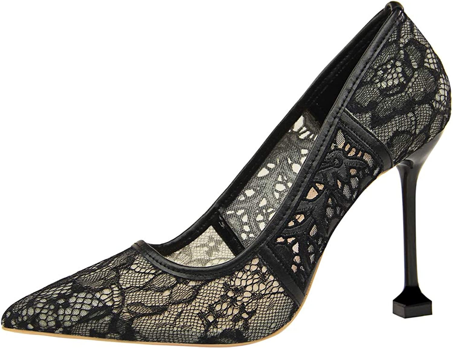 Sam Carle Women Pumps, Sexy Lace Hollow Out Shallow Mouth High Thin Heel Pointed Toe shoes