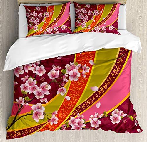 Ambesonne Flower Duvet Cover Set, Oriental Backdrop Sakura Blossom Japanese Cherry Tree Print, Decorative 3 Piece Bedding Set with 2 Pillow Shams, Queen Size, Pink Orange