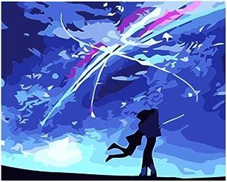 Pintura por números DIY Pareja romántica de meteoritos Figura Lienzo Decoración de la boda Imagen del arte Regalo-40x50cm