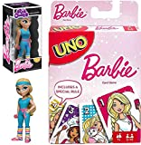 Gym Fashion 80's Barbie Workout Stylized Rock Candy Figure 5' Bundled with Cards Matching uno Game Theme Deck Fun time Girls Bundle 2 Items