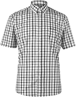 Pierre Cardin Mens Short Sleeve Checked Shirt with Signature Embroidery