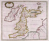 地図1654スコットランド・ブルーブリティッシュ・アイルランド大規模レプリカポスター印刷PAM0116