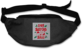 Fanny Pack For Women Men Christmas Baubles Stop Busting My Balls Waist Bag Pouch Travel Pocket Wallet Bum Bag For Running Cycling Hiking Workout