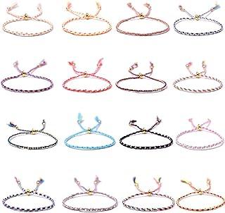 BMBN Verstelbare gevlochten armband, 16 stuks handgemaakte wrap vriendschap gevlochten armband voor vrouwen kleurrijke pol...