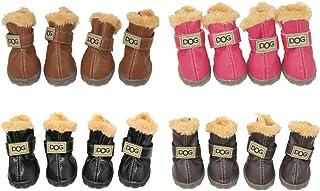 WINSOON Dog Australia Boots Pet Antiskid Shoes Winter Warm Skidproof Sneakers Paw Protectors 4-pcs Set (Size 5, Dark Brown)