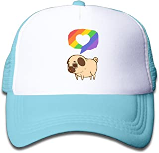 Kid's Puglie Supports Equality, Love, Respect, And Pride Trucker Mesh Baseball Cap Hat Trucker Hats Pink