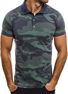 Men Camouflage Polo Shirt Stripe Splicing Pattern Casual Fashion Lapel Short Sleeve Blouse Top Beautyfine