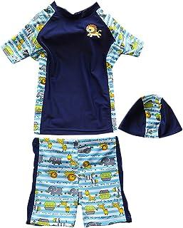 Zhhlinyuan Summer Beach Athletic Split 水泳 Costume ボーイズ 3 Piece Short Sleeve 水着 Swimsuit
