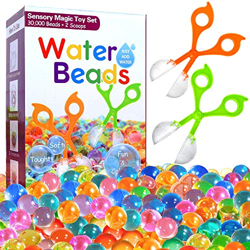 COMISU Water Beads for Kids Fine Motor Skills Toy Set 30,000 Water Growing Balls with 2 Scoops (Random Color) Jelly Beads Tactile Sensory Toys for Kids