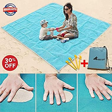 Abeter Sand Free Beach Mat Blanket Sand Proof Magic Sandless Sand Dirt & Dust Disappear Fast Dry Easy to Clean Waterproof Rug Avoid Sand Dirt And Grass Keep Everything Clean And Perfect (79 ×57 )