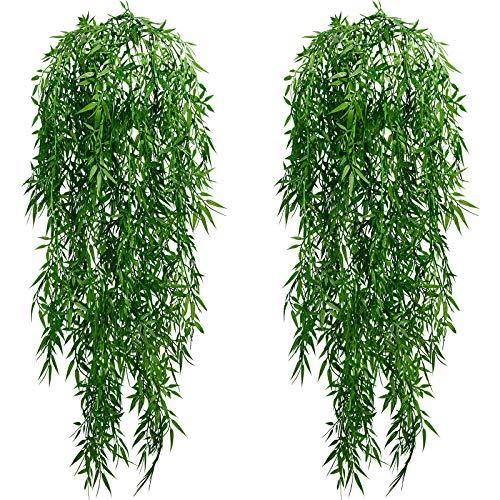 Pesonlook 2 paquetes de plantas artificiales para colgar en la pared, sauce artificial de sauce artificial para colgar en la vid, cesta de hiedra artificial