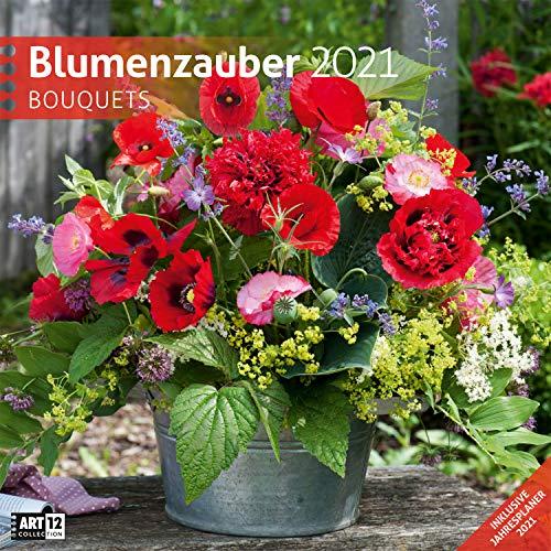 Blumenzauber 2021, Wandkalender / Broschürenkalender im Hochformat (aufgeklappt 30x60 cm) - Geschenk-Kalender mit Monatskalendarium zum Eintragen