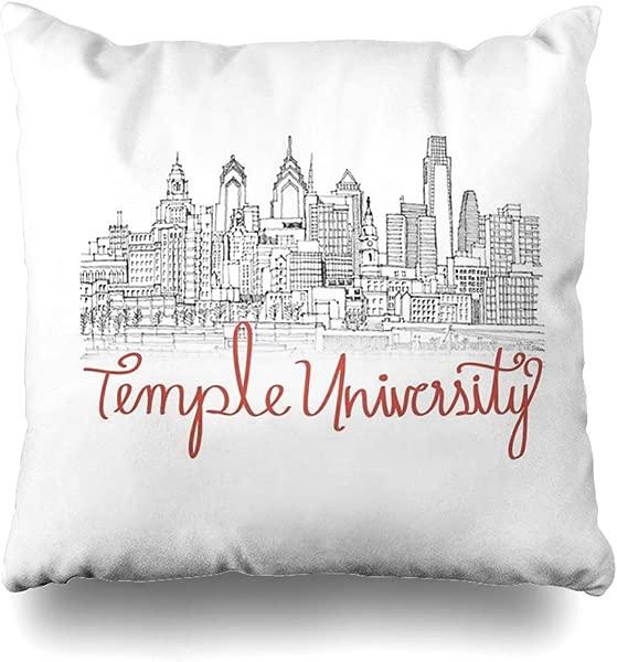 Ahawoso Throw Pillow Cover Square 16x16 Inches Temple University Skyline Decorative Pillow Case Home Decor Pillowcase