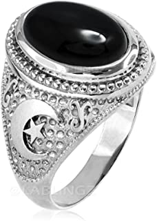 Sterling Silver Islamic Crescent Moon Black Onyx Ring