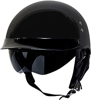 Voss 888 FRP Hand Laid Fiberglass DOT Half Helmet with Retractable Shield for Cruiser Street Bike Men and Women - L - Gloss Black