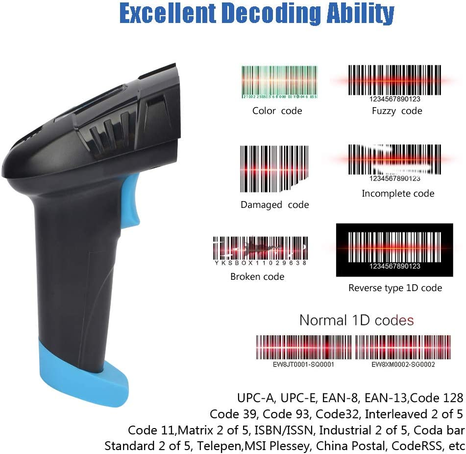 REALINN Barcode Scanner Wireless 1D Laser Handheld 2.4GHz Rechargeable Cordless Bar Code Reader with USB Cradle Long Distance Scanning for Supermarket Warehouse Inventory POS