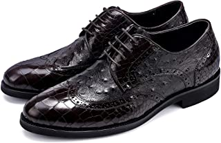 Ostrich Snake Textured Oxfords Shoes Formal Shoes (Color : Coffee, Size : 38)