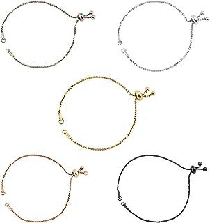 UNICRAFTALE Mixed Color Stainless Steel Charm Bracelet kit, 3pcs Metal Adjustable Sliding Chain and 2pcs 24.4cm Bolo Brace...