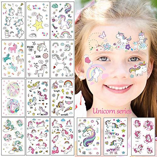 Sunshine smile Tattoo,Temporäre Tattoos,Cartoon Tattoos Set,Tattoo Kinder,Kinder Tattoo Festival Party Geschenk Mitgebsel Dekoration (Einhorn)